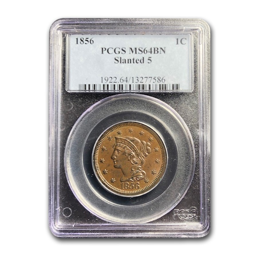 1856 Large Cent MS-64 PCGS (Brown, Slanted 5)