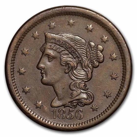 1856 Large Cent Slanted 5 AU