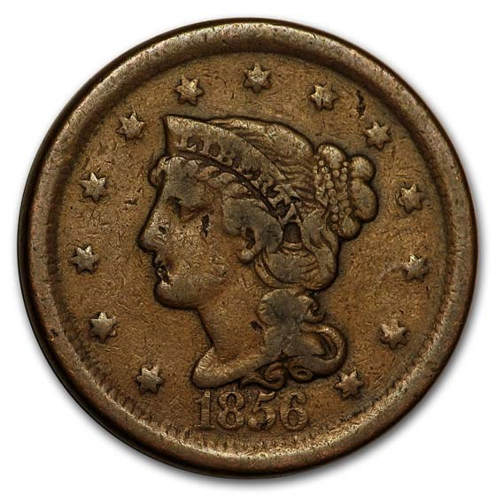 1856 Large Cent Slanted 5 Fine