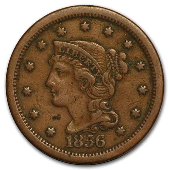 1856 Large Cent Slanted 5 VF