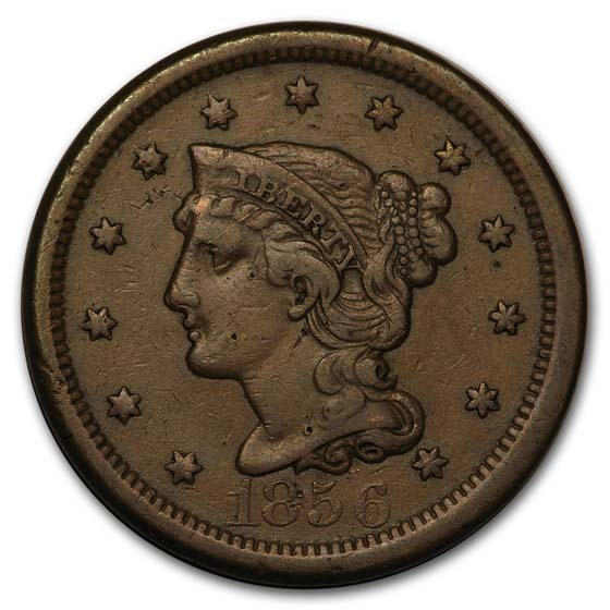 1856 Large Cent Upright 5 XF