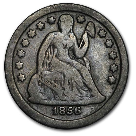 1856 Liberty Seated Dime Small Date Fine