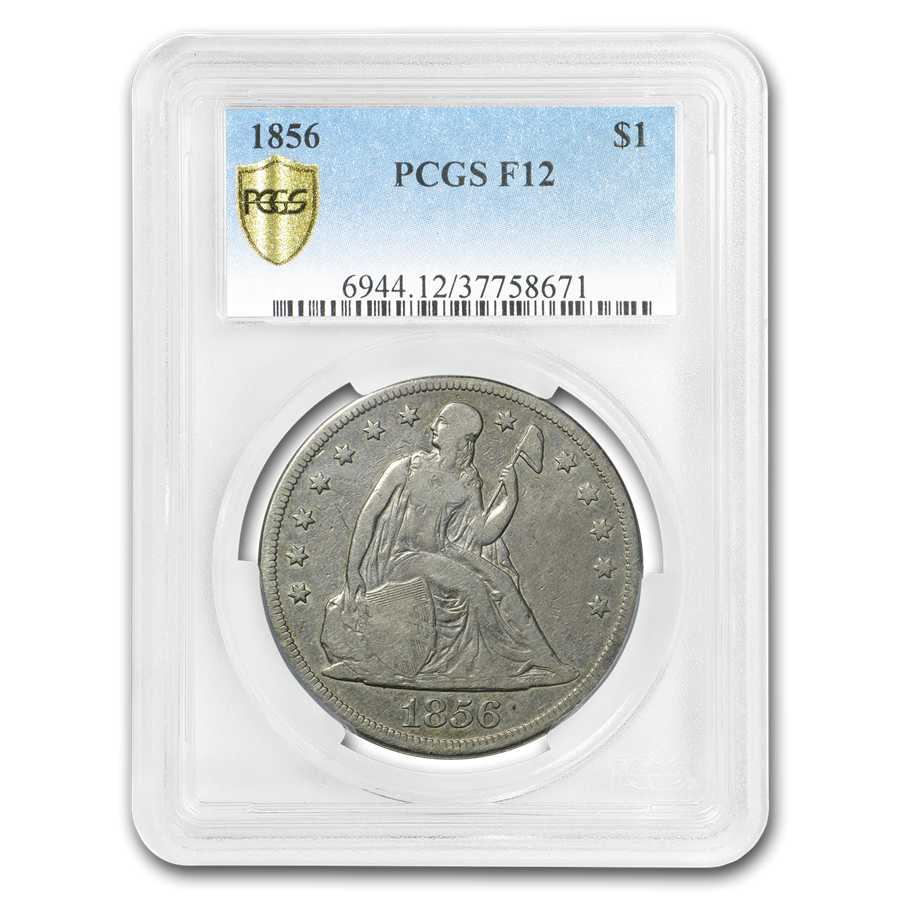 1856 Liberty Seated Dollar Fine-12 PCGS