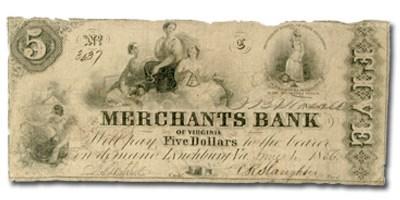 1856 Merchants Bank of Lynchburg, VA $5.00 VA-125 Fine