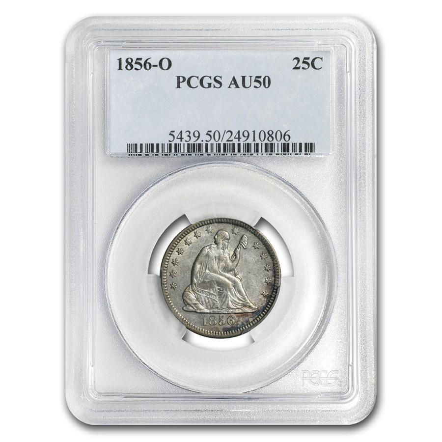 1856-O Liberty Seated Quarter AU-50 PCGS