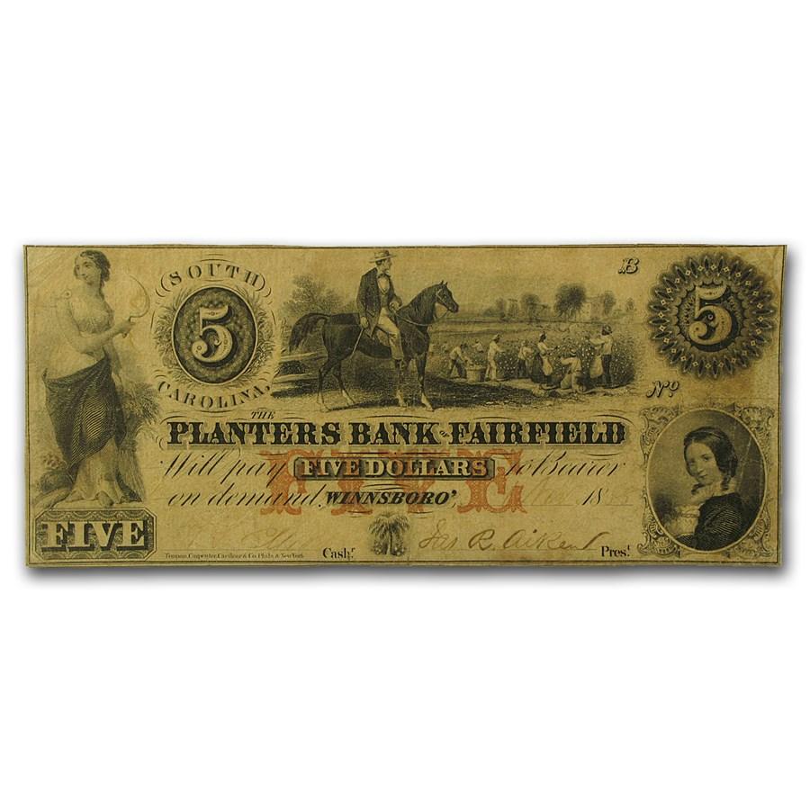 1856 Planters Bank, Winnsboro, South Carolina $5.00 VF