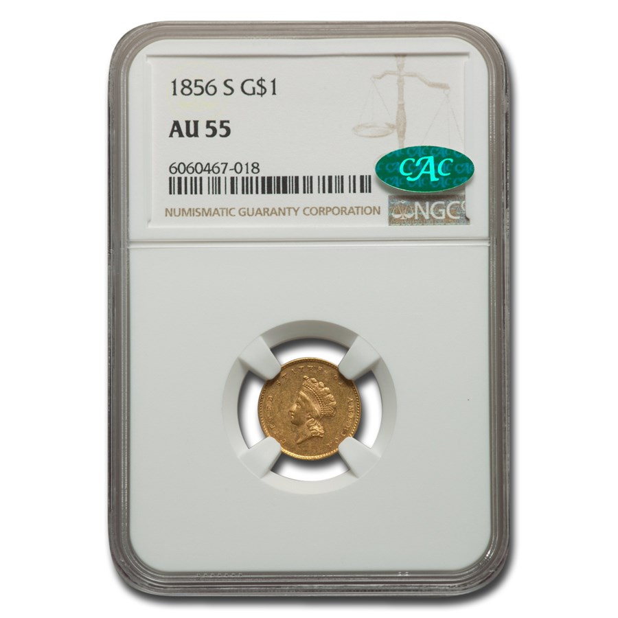 1856-S $1 Indian Head Gold AU-55 NGC CAC