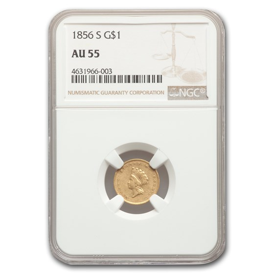1856-S $1 Indian Head Gold AU-55 NGC