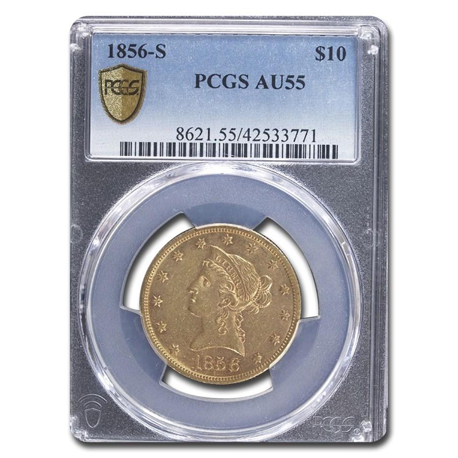 1856-S $10 Liberty Gold Eagle AU-55 PCGS