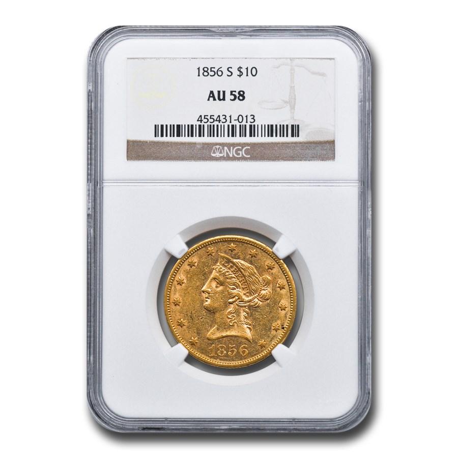 1856-S $10 Liberty Gold Eagle AU-58 NGC