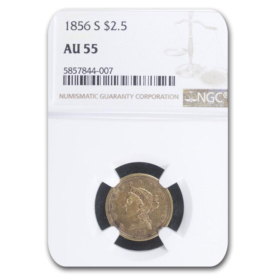 1856-S $2.50 Liberty Gold Quarter Eagle AU-55 NGC
