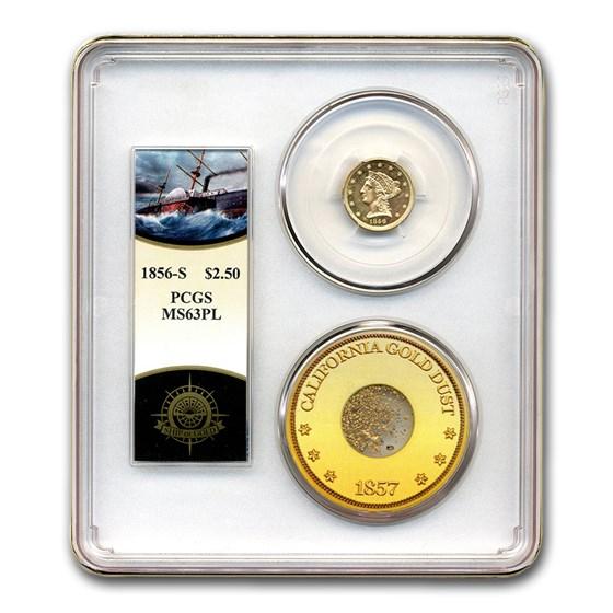 1856-S $2.50 Liberty Gold Quarter Eagle MS-63 PCGS (PL, Cen. Am.)