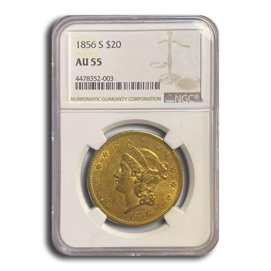 1856-S $20 Liberty Gold Double Eagle AU-55 NGC