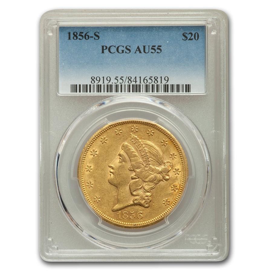 1856-S $20 Liberty Gold Double Eagle AU-55 PCGS