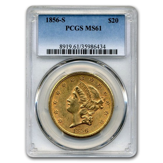1856-S $20 Liberty Gold Double Eagle MS-61 PCGS