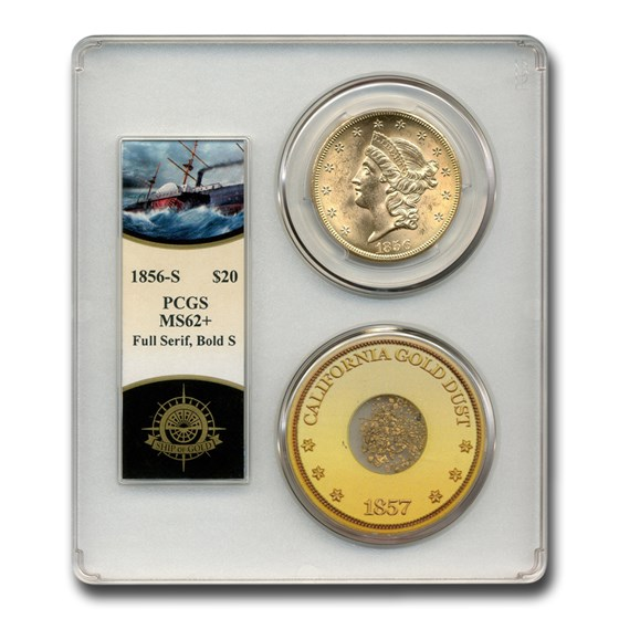 1856-S $20 Liberty Gold Double Eagle MS-62+ PCGS (SS Cen America)