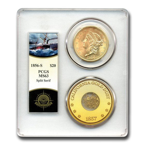 1856-S $20 Liberty Gold Double Eagle MS-63 PCGS (SS Cen. America)