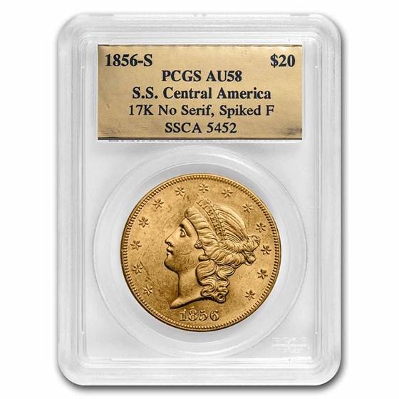 1856-S $20 Liberty Gold SS Central America AU-58 PCGS (No Serif)