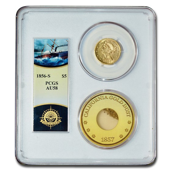 1856-S $5 Liberty Gold Half Eagle AU-58 PCGS (SS Central America)