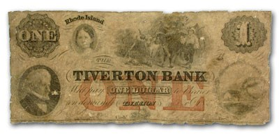 1856 Tiverton Bank, Tiverton, RI $1 RI-505 VG