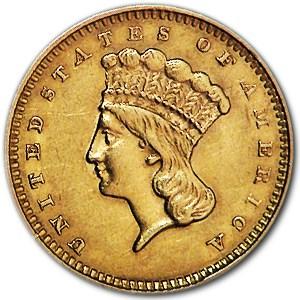 1857 $1 Indian Head Gold Dollar AU