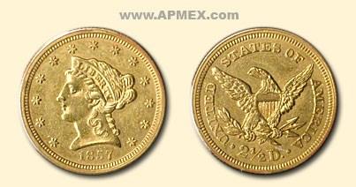 1857 $2.50 Liberty Gold Quarter Eagle AU