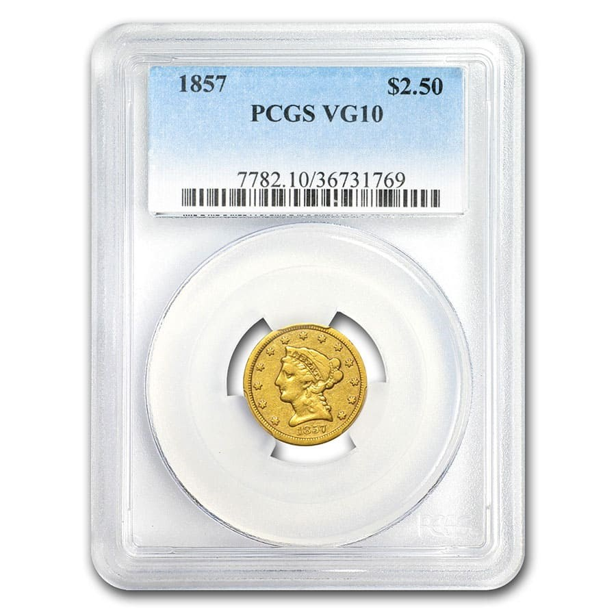 1857 $2.50 Liberty Gold Quarter Eagle VG-10 PCGS