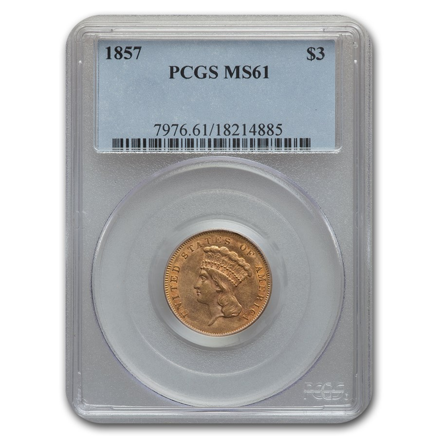 1857 $3 Gold Princess MS-61 PCGS