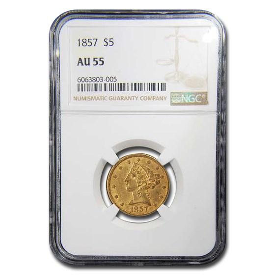 1857 $5 Liberty Gold Half Eagle AU-55 NGC