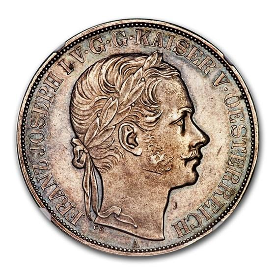 1857-A Austria Silver 2 Thaler Franz Joseph I MS-62 NGC