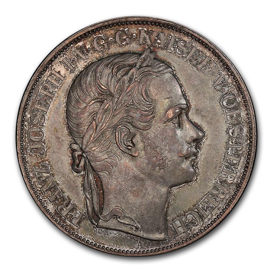 1857-A Austria Silver 2 Thaler Franz Joseph I MS-62 PCGS