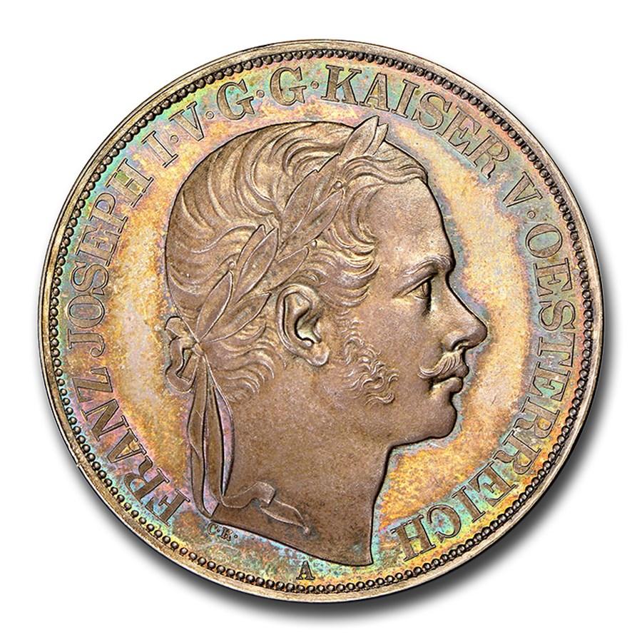 1857 Austria Silver 2 Thaler Franz Joseph I MS-66 PL NGC