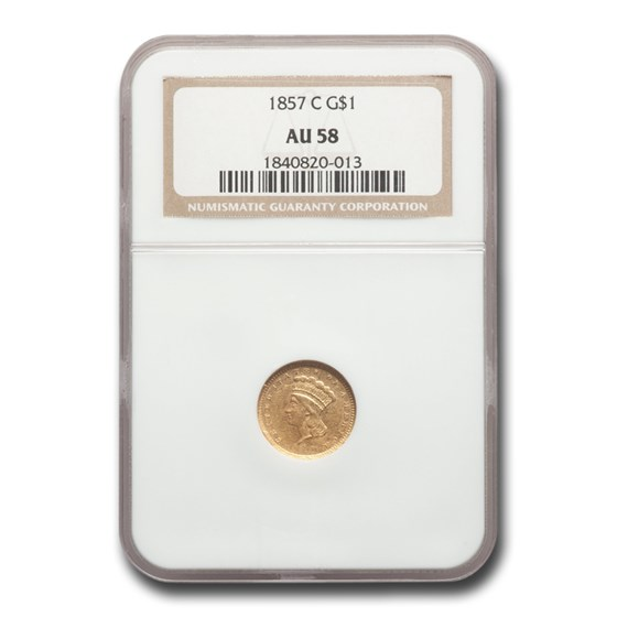 1857-C $1 Indian Head Gold AU-58 NGC