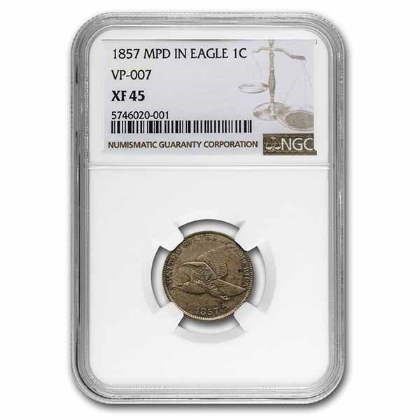1857 Flying Eagle Cent MPD in Eagle XF-45 NGC (VP-007)