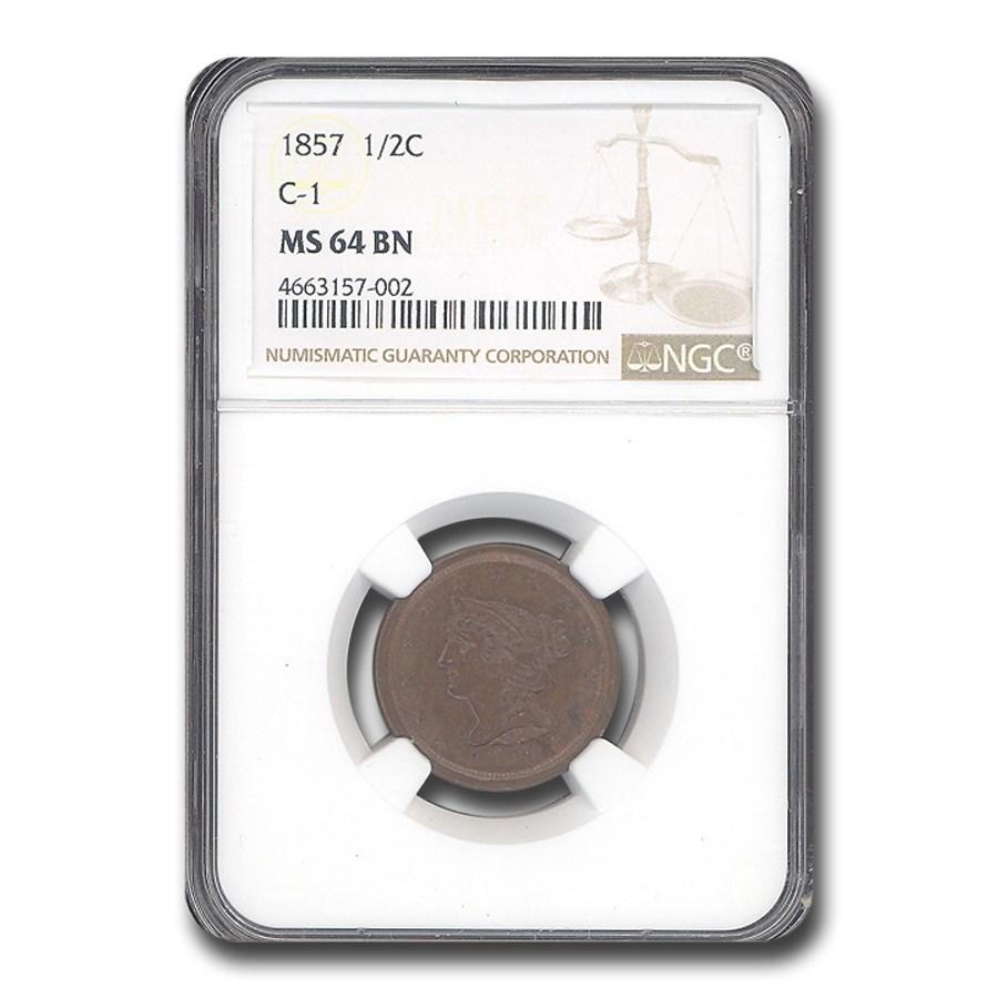 1857 Half Cent MS-64 NGC (Brown, C-1)