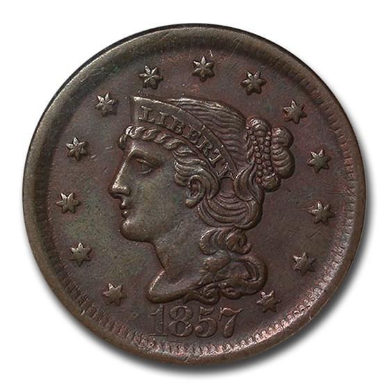 1857 Large Cent AU-50 NGC