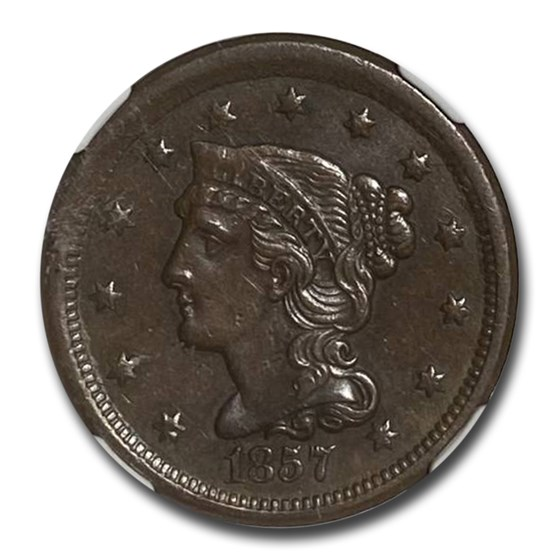 1857 Large Cent AU-55 NGC (Small Date, Brown)