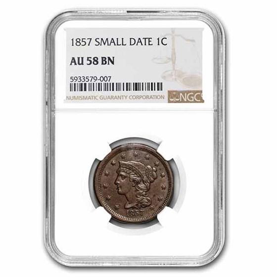 1857 Large Cent AU-58 NGC (Brown)
