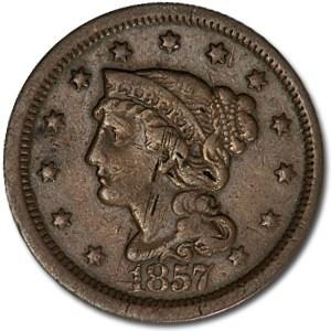 1857 Large Cent Lg Date VF Details