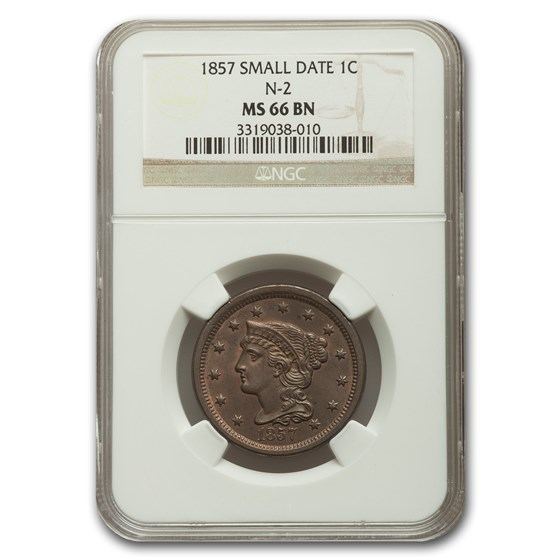 1857 Large Cent MS-66 NGC (Brown, Small Date, N-2)