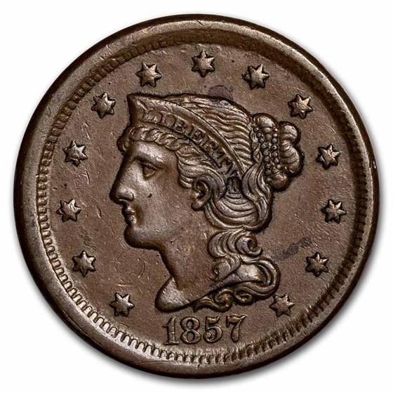 1857 Large Cent Sm Date AU