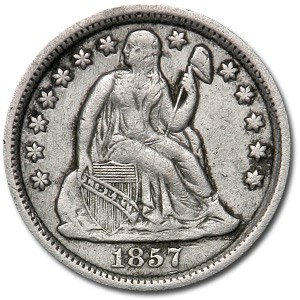 1857 Liberty Seated Dime XF (Details)