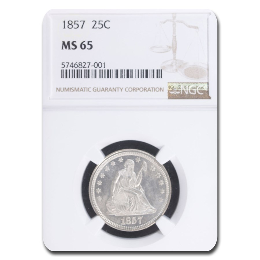 1857 Liberty Seated Quarter MS-65 NGC