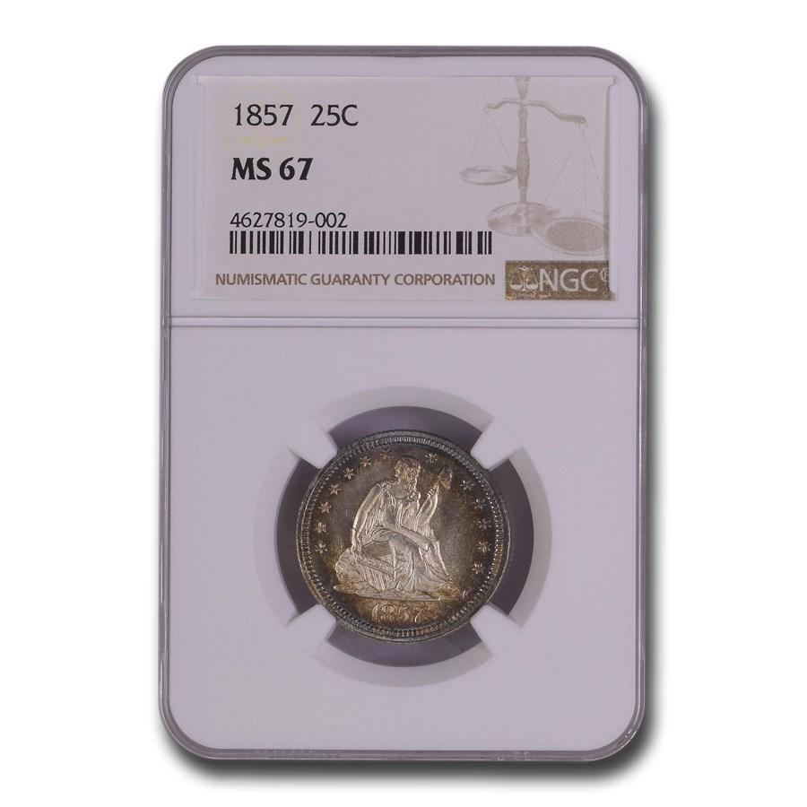 1857 Liberty Seated Quarter MS-67 NGC