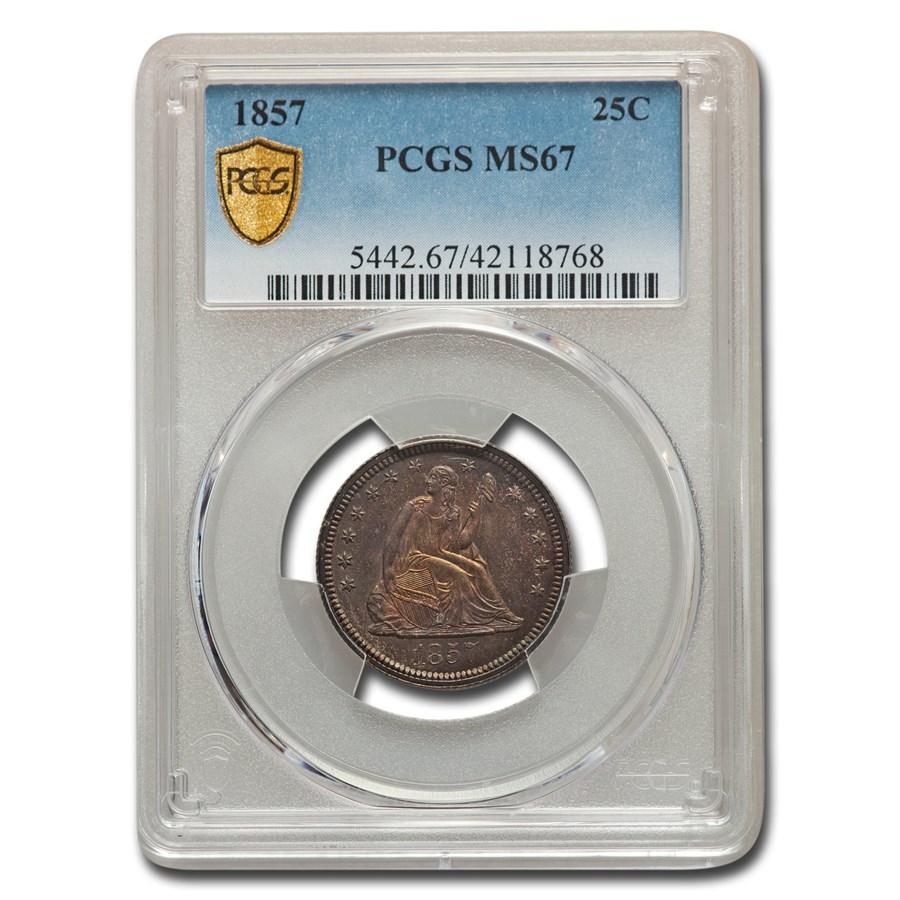 1857 Liberty Seated Quarter MS-67 PCGS