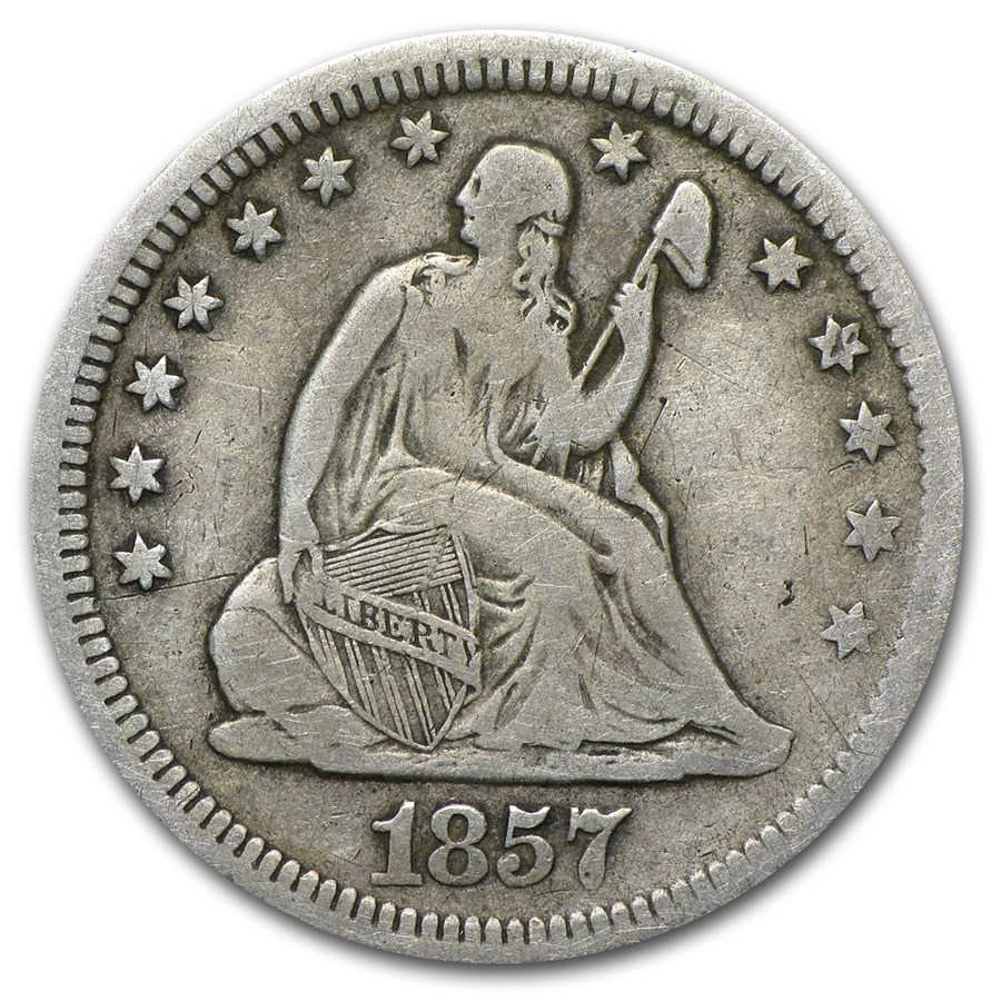 1857 Liberty Seated Quarter VF