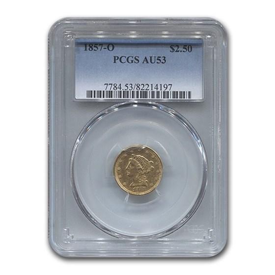 1857-O $2.50 Liberty Gold Quarter Eagle AU-53 PCGS