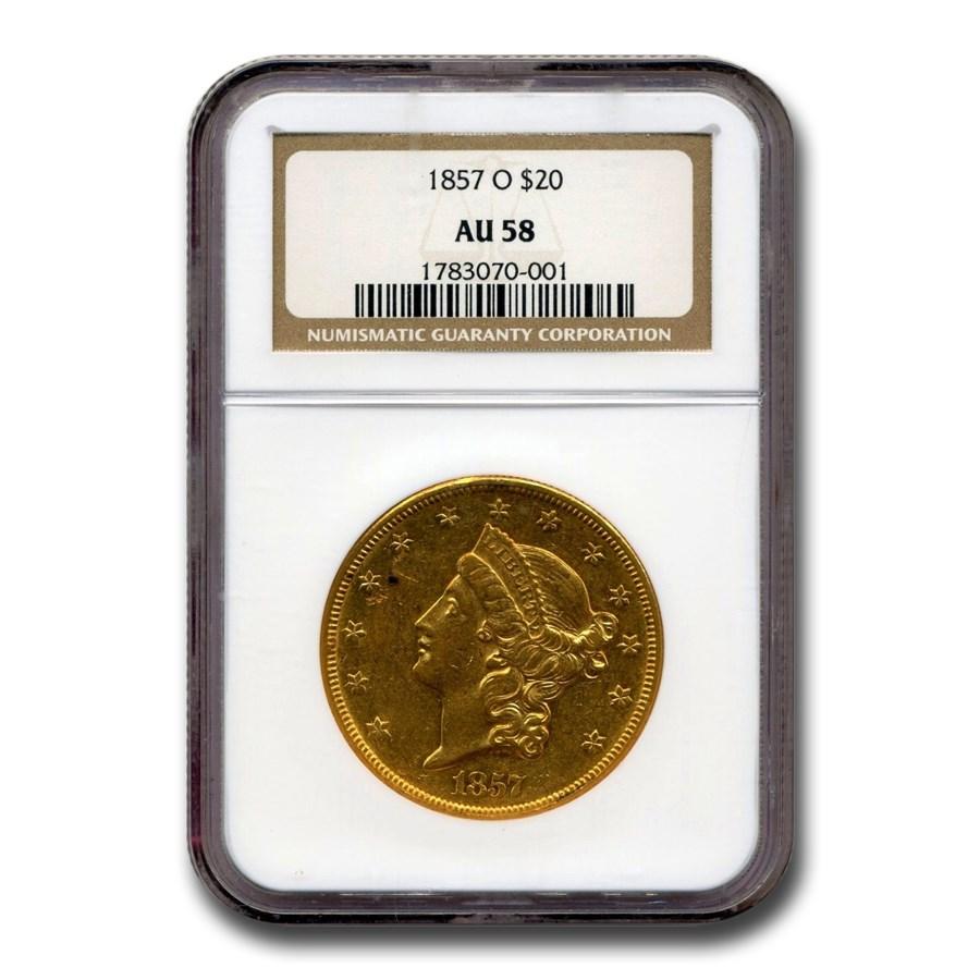 1857-O $20 Liberty Gold Double Eagle AU-58 NGC
