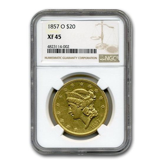 1857-O $20 Liberty Gold Double Eagle XF-45 NGC