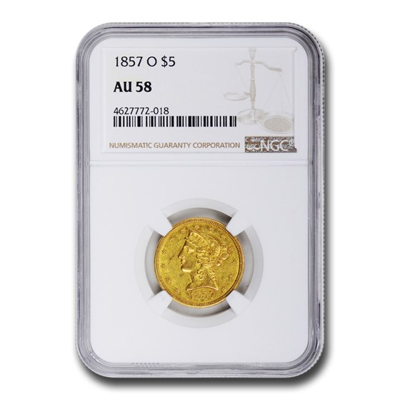 1857-O $5 Liberty Gold Half Eagle AU-58 NGC